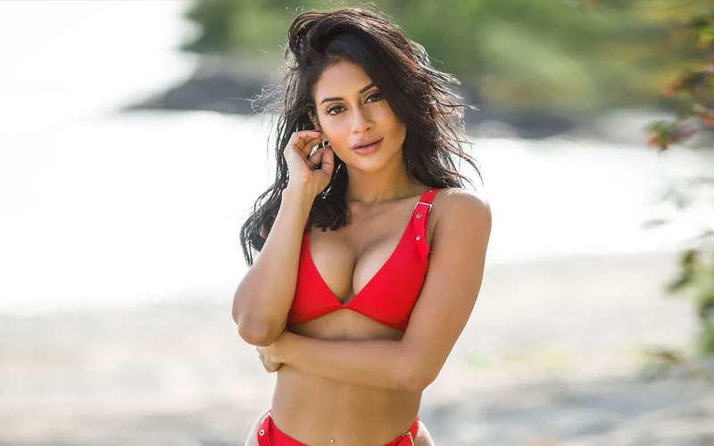 pretty woman in red swimsuit