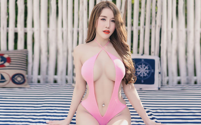 pretty asian woman in pink