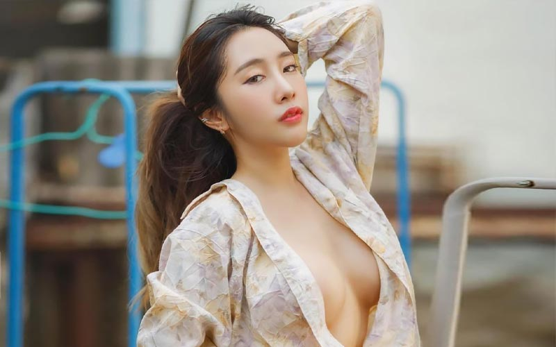 beautiful asian woman in shirt