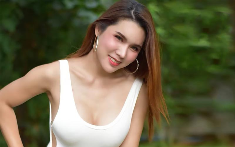 pretty cambodian girl in white outfit