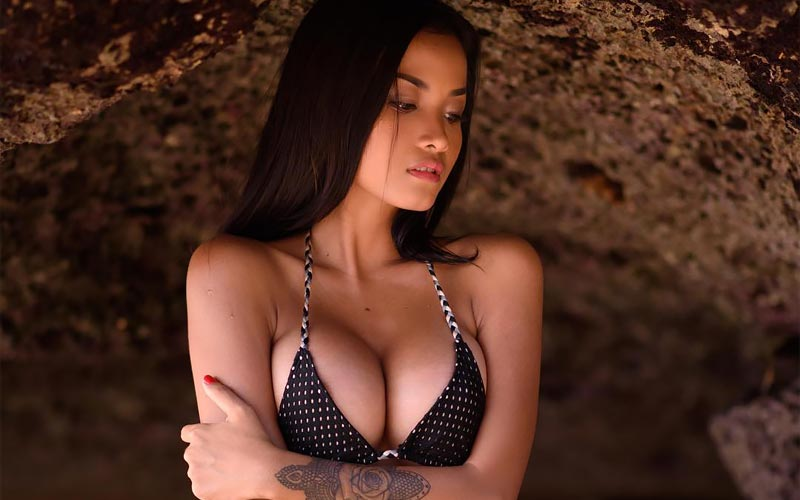 pretty indoneasian girl in swimsuit